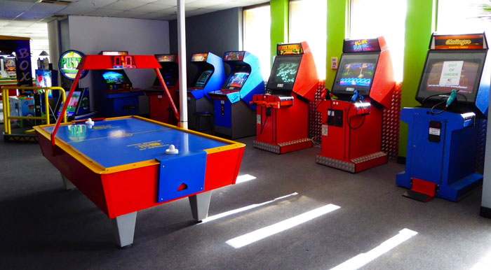 air hockey and arcade games